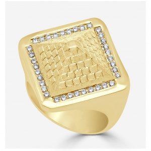 Gold and Diamond Pyramid Ring